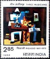 『3人のミュージシャン』(インド、1982年、ピカソ)