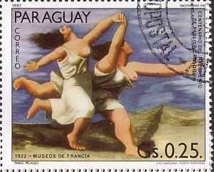 パブロ・ピカソの絵画切手 『海辺を走る2人の女』(パラグアイ)