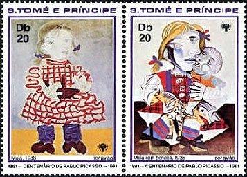 『人形を持つ少女』、『父、母と子供』 ピカソ画