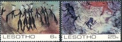 """Trance Dancers""; ""Baboons, Sehonghong Thaba Tseka;"" ""Hunter attacking mountain reedbuck, Makhetha Berera;"" and ""Eland, Leribe."""