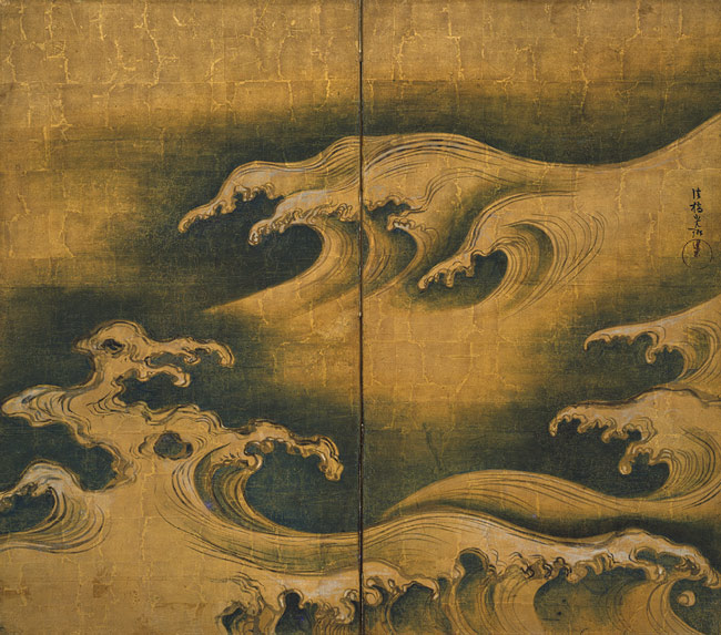 Rough Waves, Edo period (1615-1868), ca. 1704-9|Ogata Korin (Japanese, 1658-1716) Two-panel screen; ink, color, and gold on gilded paper